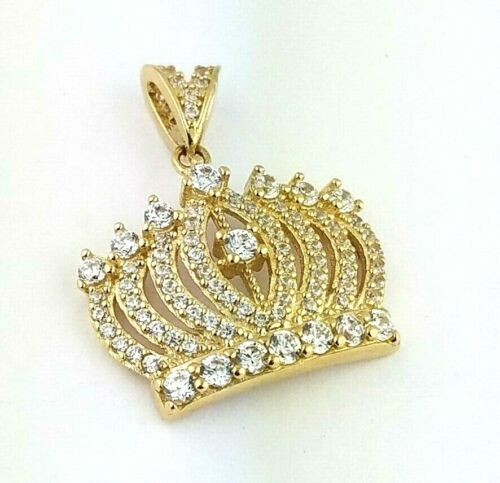 0.25 CT 14k Solid Yellow Gold Crown Pendant Charm For Necklace Queen King