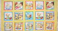 Elizabeths Studio My Babie's Day Baby Nursery Cute Scenes Cotton Fabric PANEL