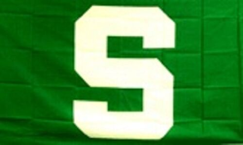 Michigan State MSU Flag Banner 3x5 Ft Green w White S Spartans Football College