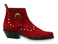 Ladies Red Suede Line Dancing Ankle Boots Shoes - Cowboy Western Style 13484