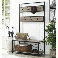 WE Furniture HT72MWAG 72In Industrial Metal And Wood Hall Tree-Driftwood  NEW