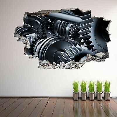 Gears 3D Wall Art Autocollant Mural Decal Affiche Maison Bureau Garage DECOR GE16