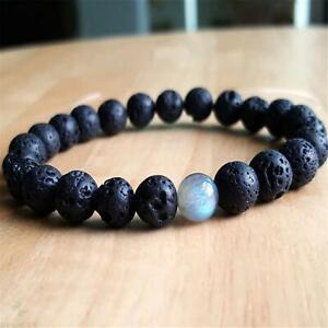 8mm-Natural-Volcanic-Stone-Handmade-Mala-Bracelet-Chakas-Cuff-Healing-Meditation