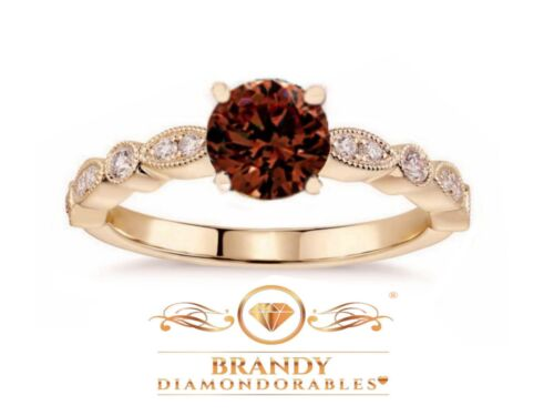 Brandy Diamondorables® Chocolate Brown 14K Rose Gold Silver Solitaire Ring 1.52C