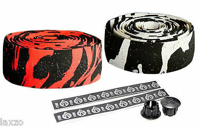 Cinelli Macro Splash Cork Handlebar Tape  Red / Black & White/ Black + End Plugs