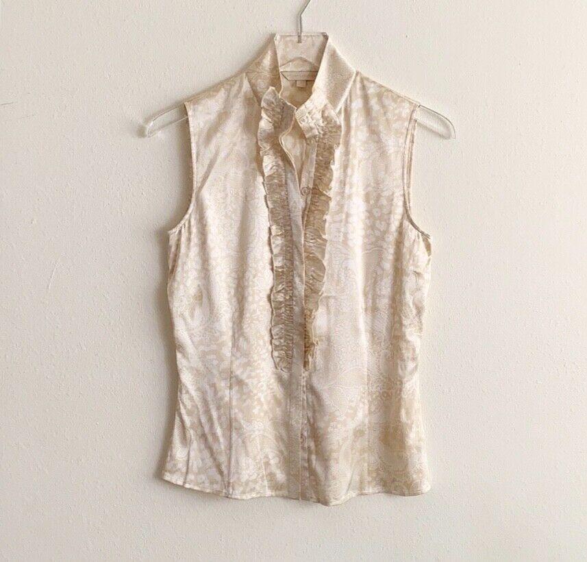 St John Couture Lace Print Silk Sleeveless Button Down Blouse sz 2