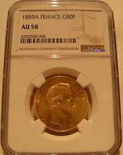 France 1859 A Gold 50 Francs NGC AU-58 Napoleon III