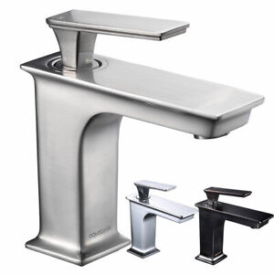 Single Hole Bathroom Sink Faucet Square Cold Hot Water Hotel Diy Spout Mixer Tap Ebay