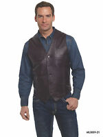 Men's Cripple Creek Lamb Leather Button Front Vest - Black Or Chocolate