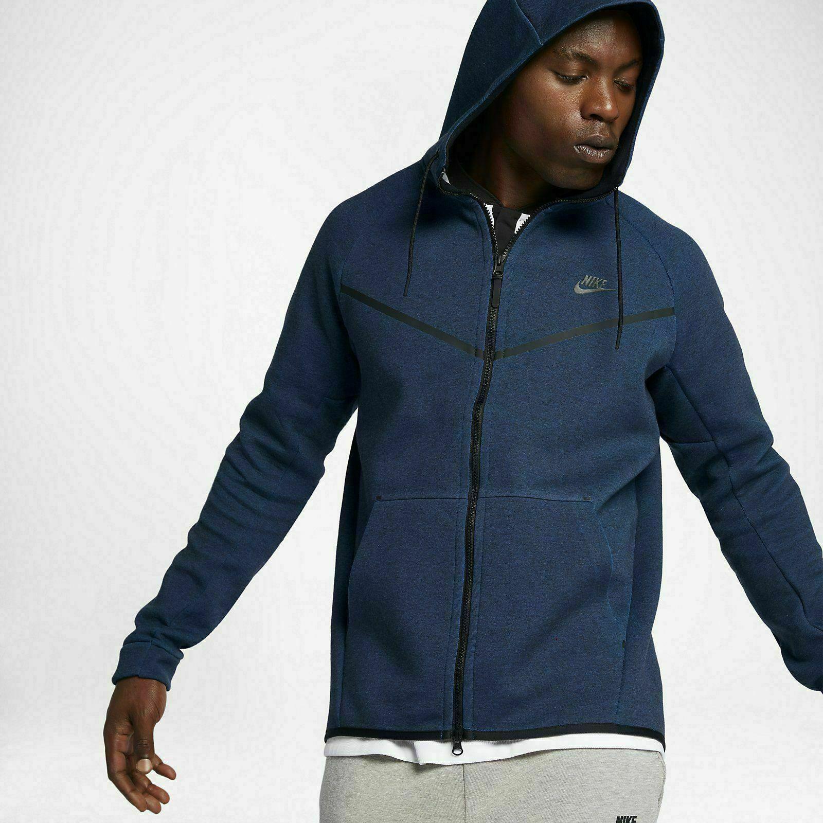 Men S Nike Tech Fleece Windrunner Obsidian Blue Black Jacket 559592 473 Small For Sale Online Ebay