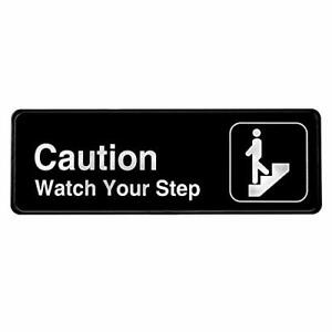 Alpine-Industries-Black-3X9-Self-Adhesive-Caution-Watch-Your-Step-Sign-2-Pack
