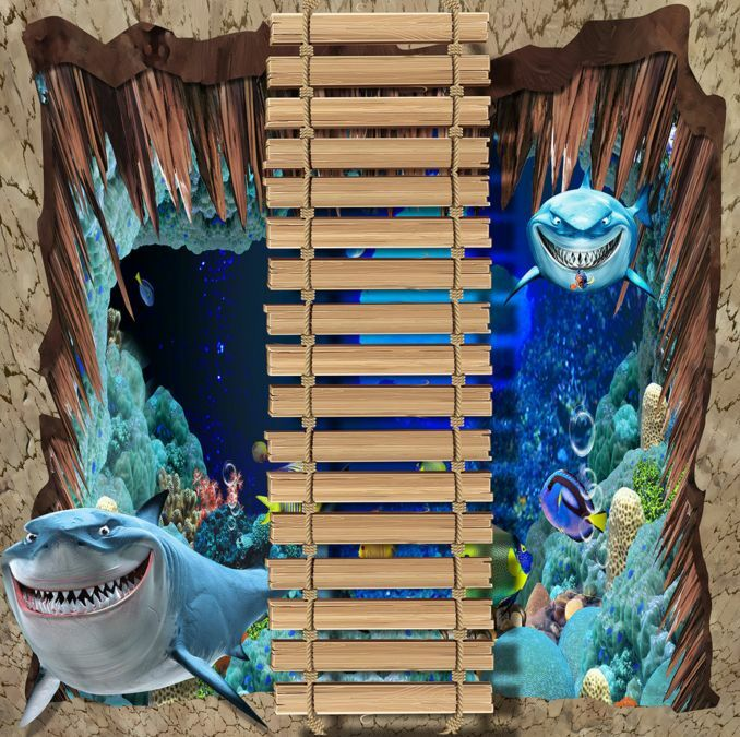 3D Sea World Bridge Floor WallPaper Murals Wall Print Decal 5D AJ WALLPAPER