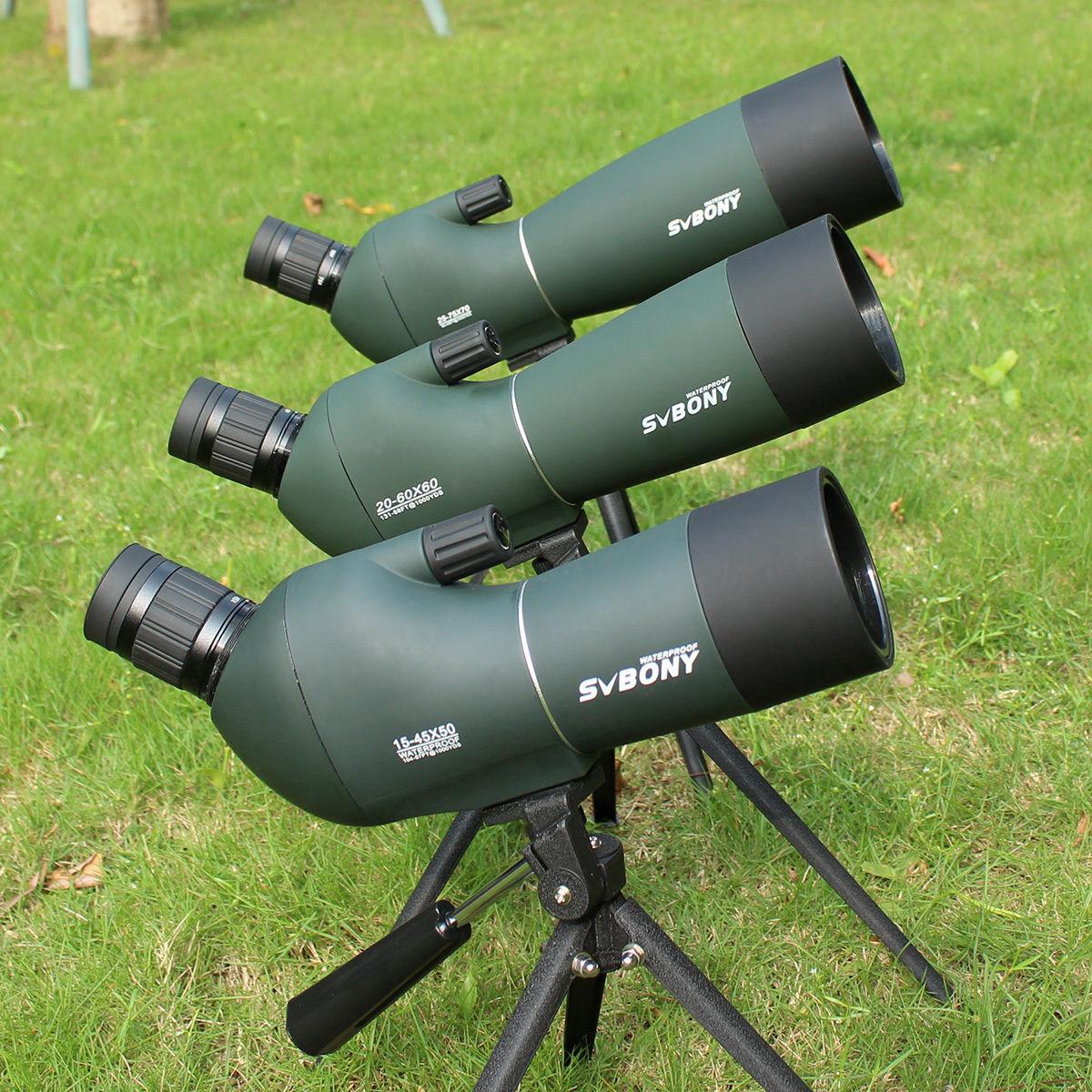 New SV 15-45x50mm/20-60x60mm/25-75x70mm Spotting Scope+Tripod+Cell Phone Adapter