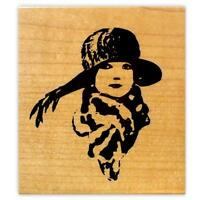 Flapper Lady With Scarf Large Mounted Rubber Stamp 2