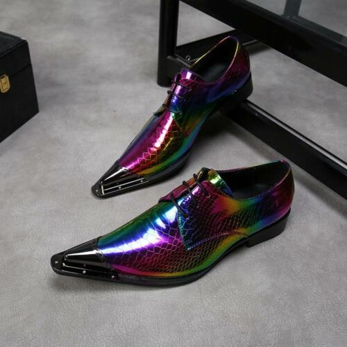 Alligator Dress Mens Shoes Metal Multicolor Pointy Toe Wedding Business Lace UP