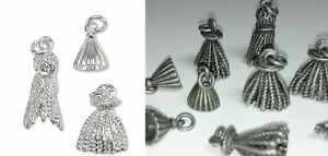 10-Silver-Plated-OR-Antiqued-Silver-Pewter-Tassel-Charms-Mix