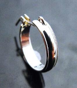 Small-Petite-Sterling-Silver-925-Rail-Pattern-Creola-Hoop-Single-Earring