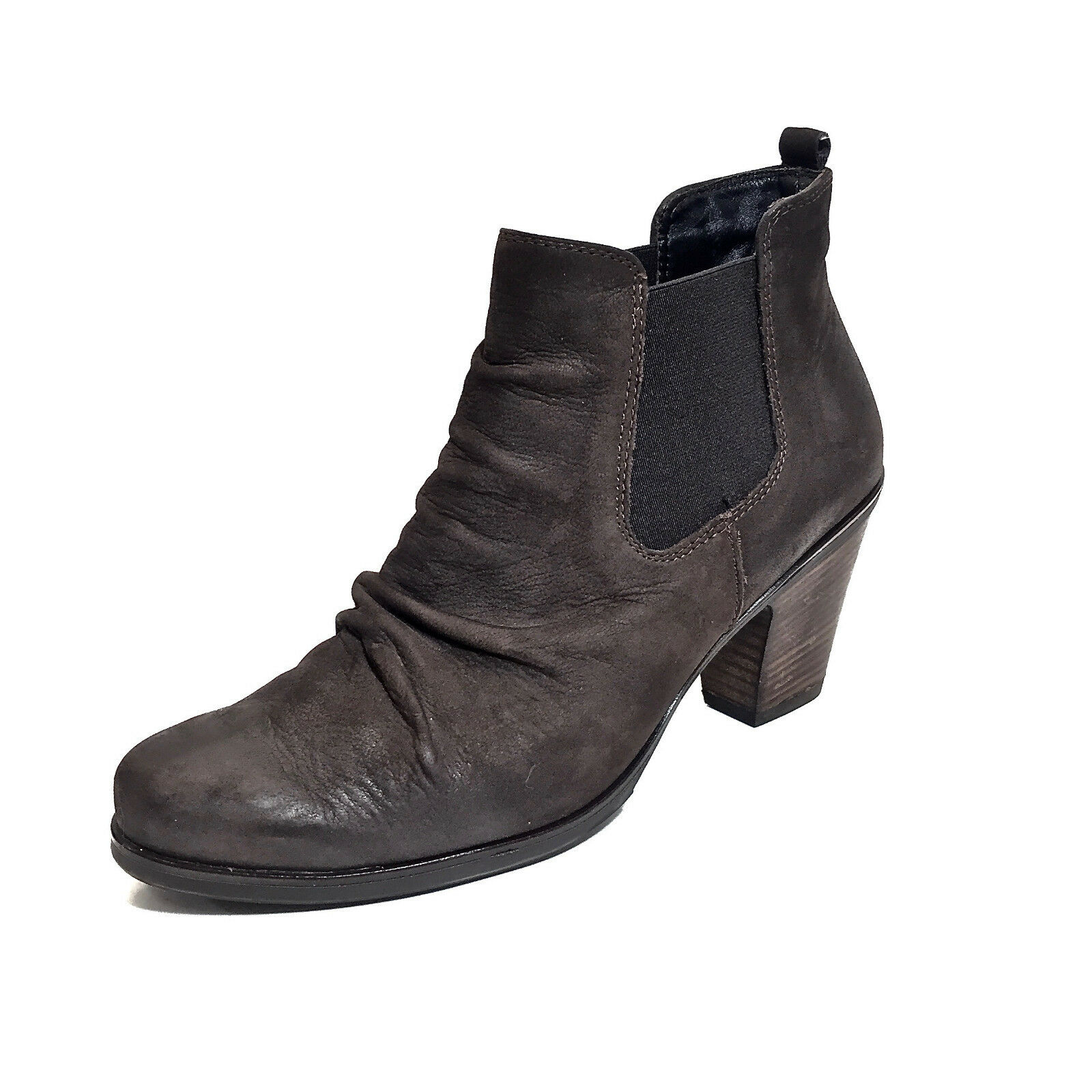 Women's Paul Green Brown Nubuck Leather Leather Leather & Elastic Ankle Boots Size 8.5 581720