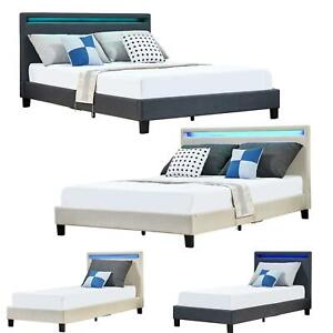 buy popular cba50 9c052 Details about Modern Designer LED Headboard Low Bed Frame Single Double  King Size