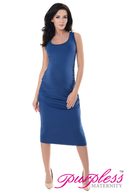 c6757f335d Purpless Sleeveless Jersey Ruched Pregnancy Maternity Midi Dress ...