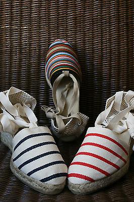 Real Espadrilles High Heel of Country Basque Stripes Mauléon