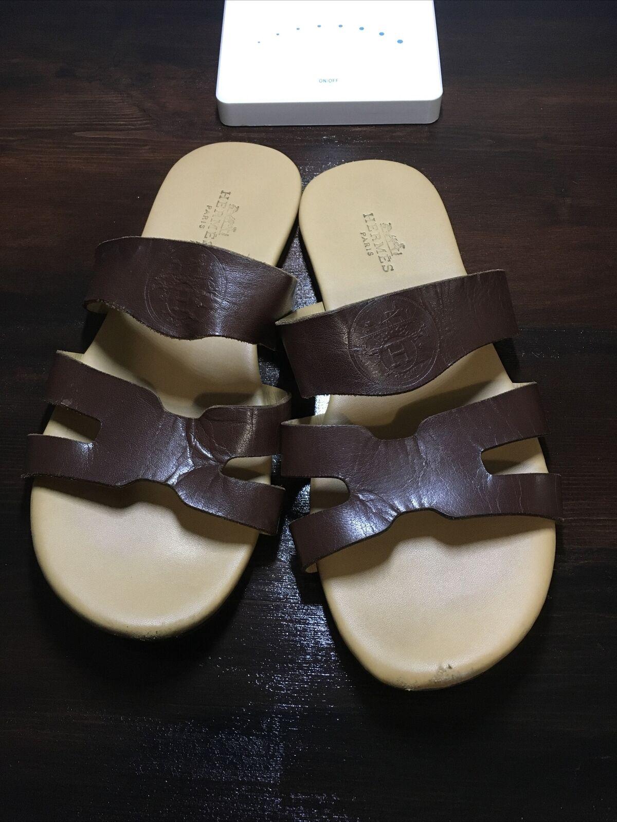 Hermes Mens Brown Leather Sandals Sz 41