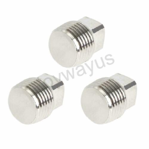 """1//4/"""" NPT Male Pipe Plug Outer Square Head Thread Stainless Pipe Fitting 3 Pcs"""