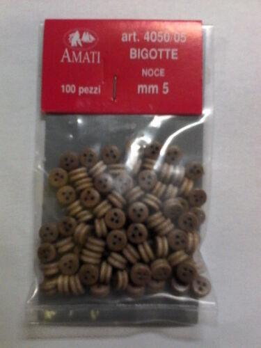 AMATI BIGOTTE LEGNO NOCE 5 MM BUSTINE DA 100 PEZZI ART 4050//05