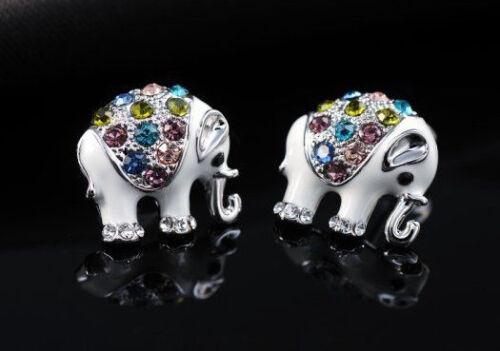 ROSE GOLD OR SILVER Dazzling Elephant Austrian Crystal Stud Earrings UK SELLER