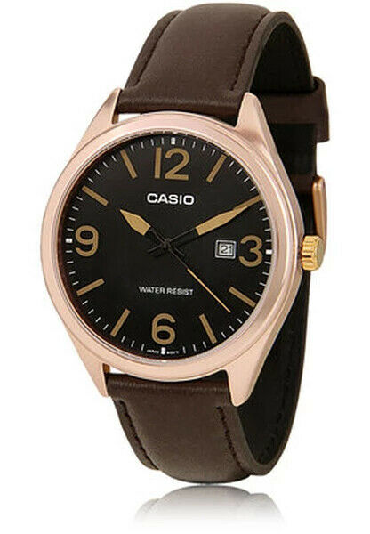 Casio MTP-1342L-1B2 Men's Analog Black Color Date Watch Black Leather Band New