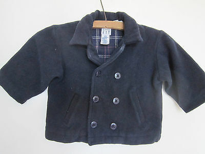 Lovely Vintage Blu Navy Pura Lana Baby Gap Caban 12-24 Mesi Tartan Foderato-mostra Il Titolo Originale Superficie Lucente