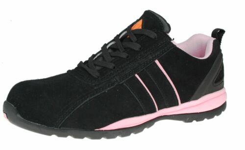 Black Lace And Ladies Steel Toecap Et Trainers Pink Safety Up Sb Leather Ew6Iag