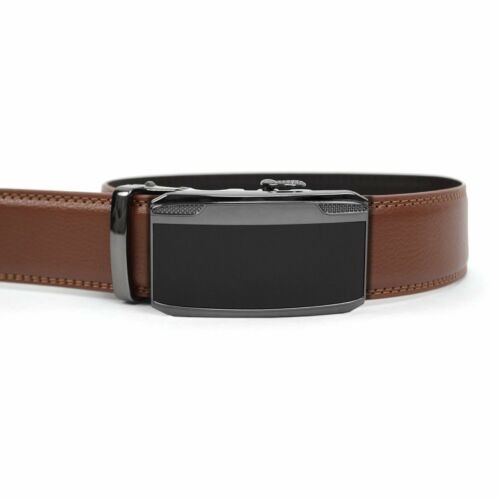 Men's Designer Leather Ratchet Belt with Midnight Sleek Automatic Buckle