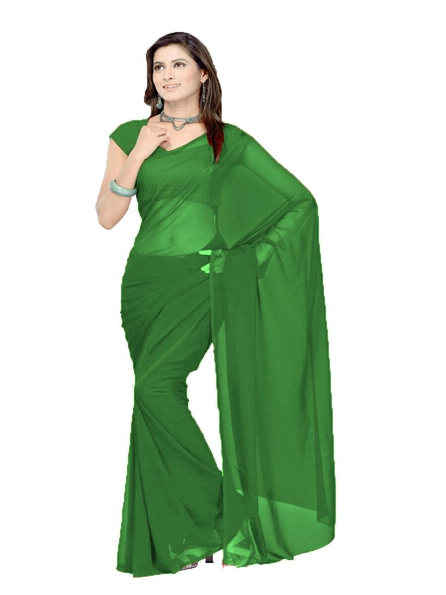 6 Yard Saree Plain Sheer Indian Saree For Women Chiffon Fabric Green Color C26