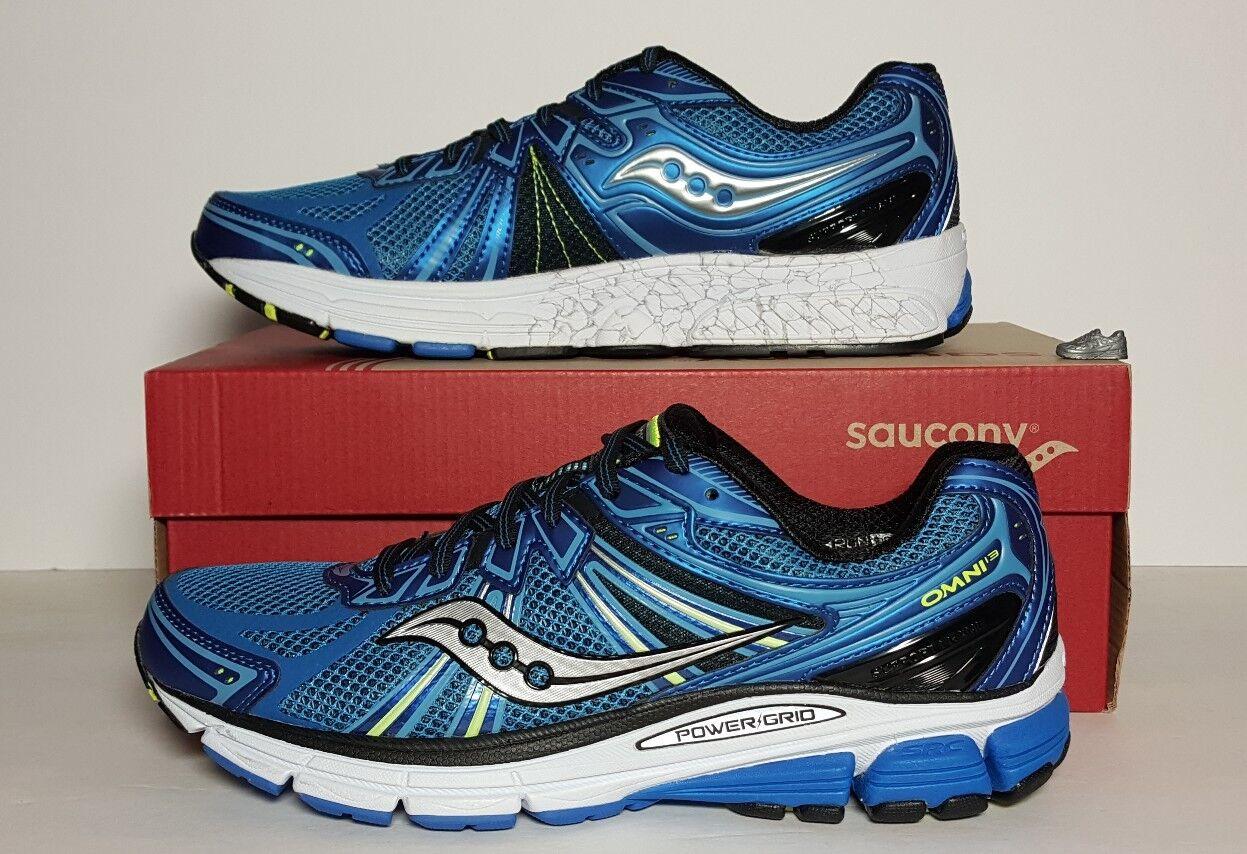 SAUCONY OMNI 13 uomo BLUE CITRON NEW IN BOX RUNNING MULTIPLE SIZES S20247-2 Scarpe classiche da uomo