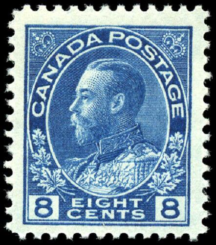 Canada #115 mint F-VF OG H 1925 King George V 8c blue Admiral Dry Printing