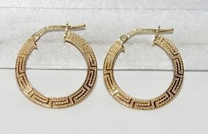 Image Is Loading 9ct Yellow Gold Amp Silver Greek Key Las