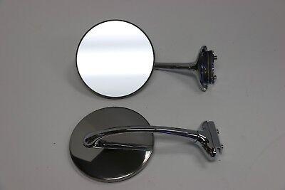 "4/"" Stainless Pair Universal Peep Mirrors  Door Edge Chrome Drip Rail Hdwr Includ"