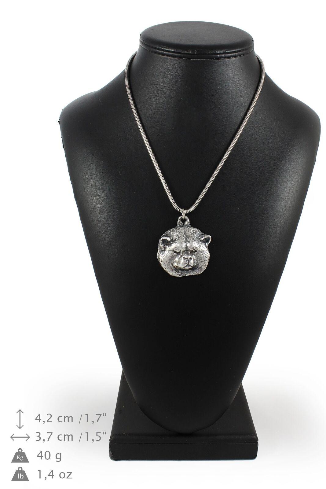 Akita inu  collier en argent plaqué sur une chaîne en argent Art Dog FR