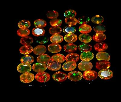 9x7x5 MM 1.4 Carat AAA Grade Quality Multi Color Natural Ethiopian Welo Fire Opal Oval Shape Cabochon Multi Color Calibrated Size Opal