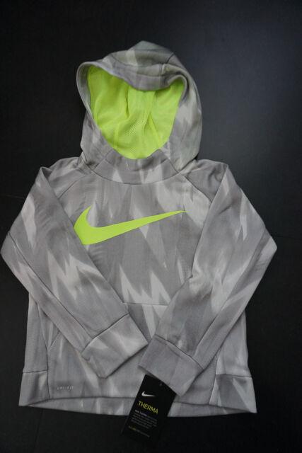 d207756170 NEW NIKE Boys Therma Abstract Dri-Fit Training Hoodie Sweatshirt 4 Wolf  Grey $44