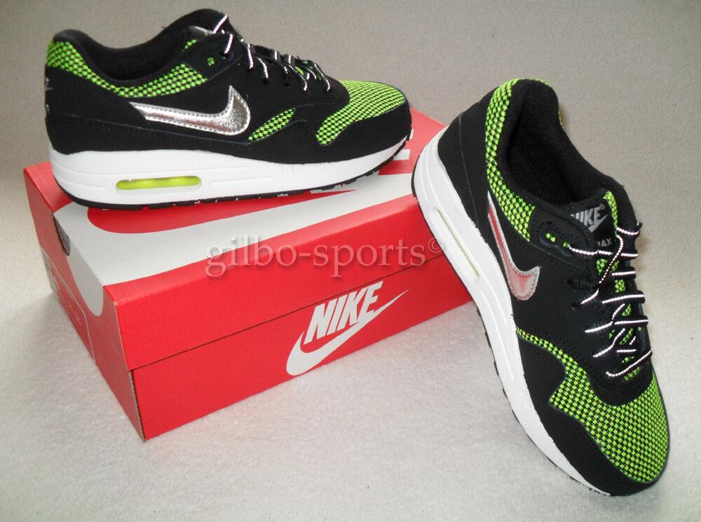 Nike Air Max 1 LE Limitierte Edition GS Black Volt Green Gr. 36   631747 001  90