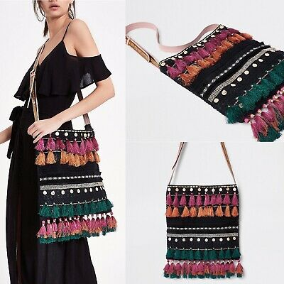 ex River Island Black Boho Tassel Crochet Mirror Detail Cross Body Bag RRP £45