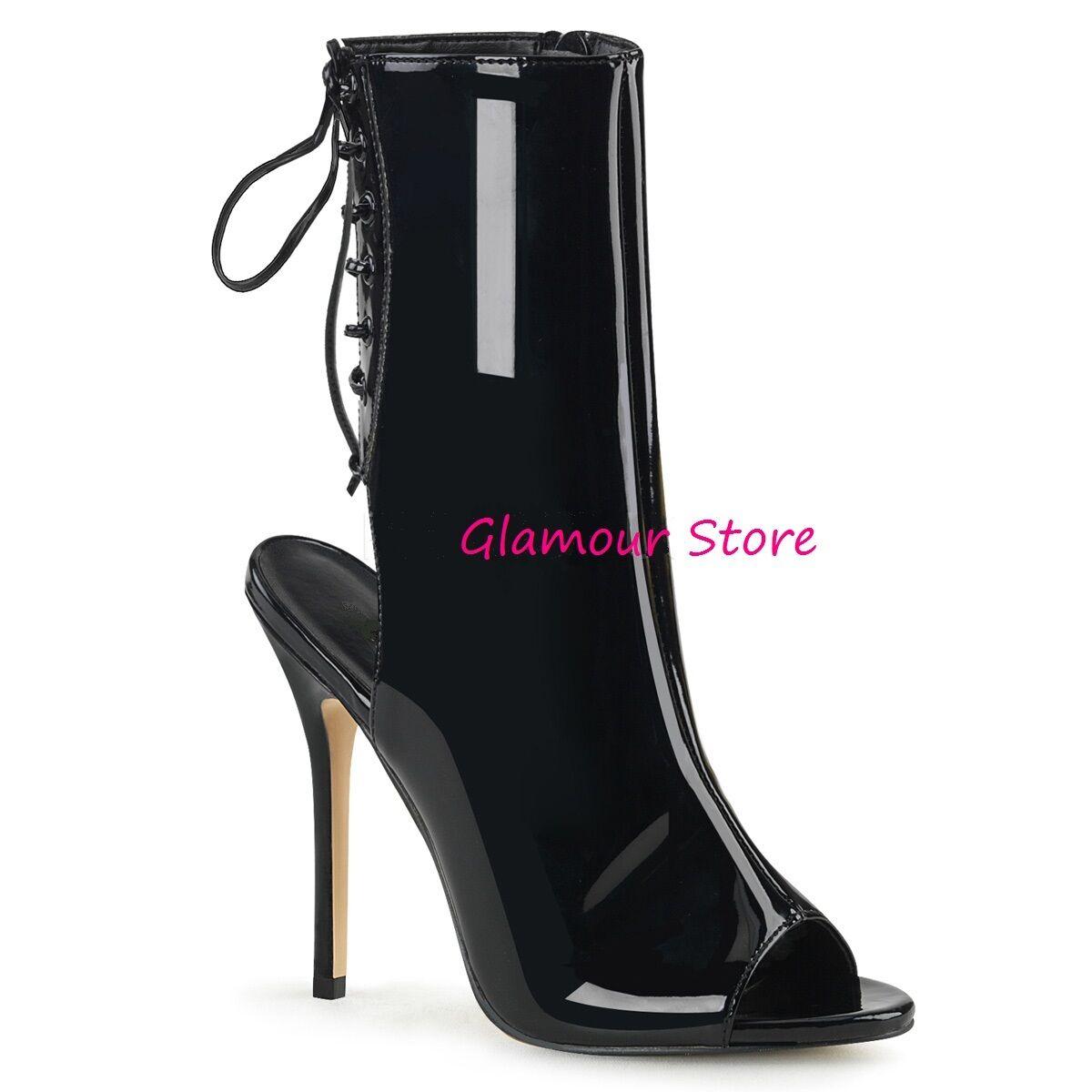 Sexy NERO STIVALETTI APERTI tacco 13 dal 35 al 44 NERO Sexy LUCIDO sandali scarpe GLAMOUR 2bb0ed
