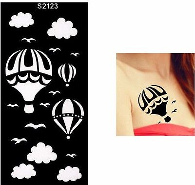 Balloon Clouds Bird Henna Arm Hand Stencils Templates Body Art Painting Black Ebay