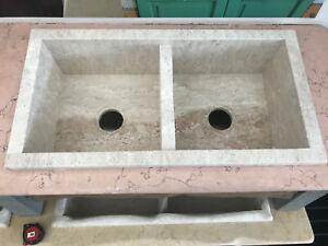 Lavello cucina a incasso 2 vasche in pietra naturale cm 84x44 | eBay