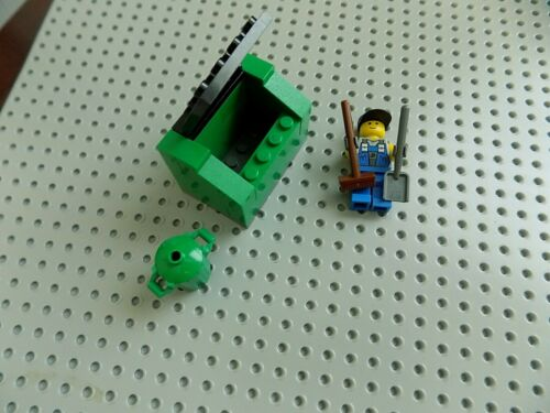 Lego city town moc Minifigure With Dumpster Garbage Can Shovel Broom