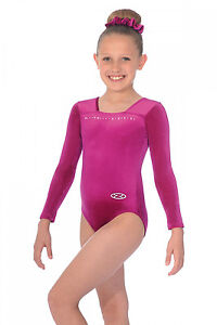 THE ZONE SPARKLE JEWEL LONG SLEEVE VELOUR GYMNASTICS LEOTARD -CERISE ... d13ed5ace26