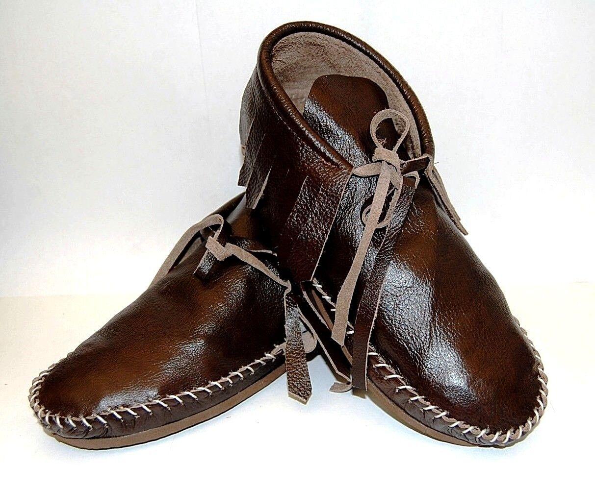 Braun Leder Soft Moccasins Damens low boot fringe Western Indian lace up all sz