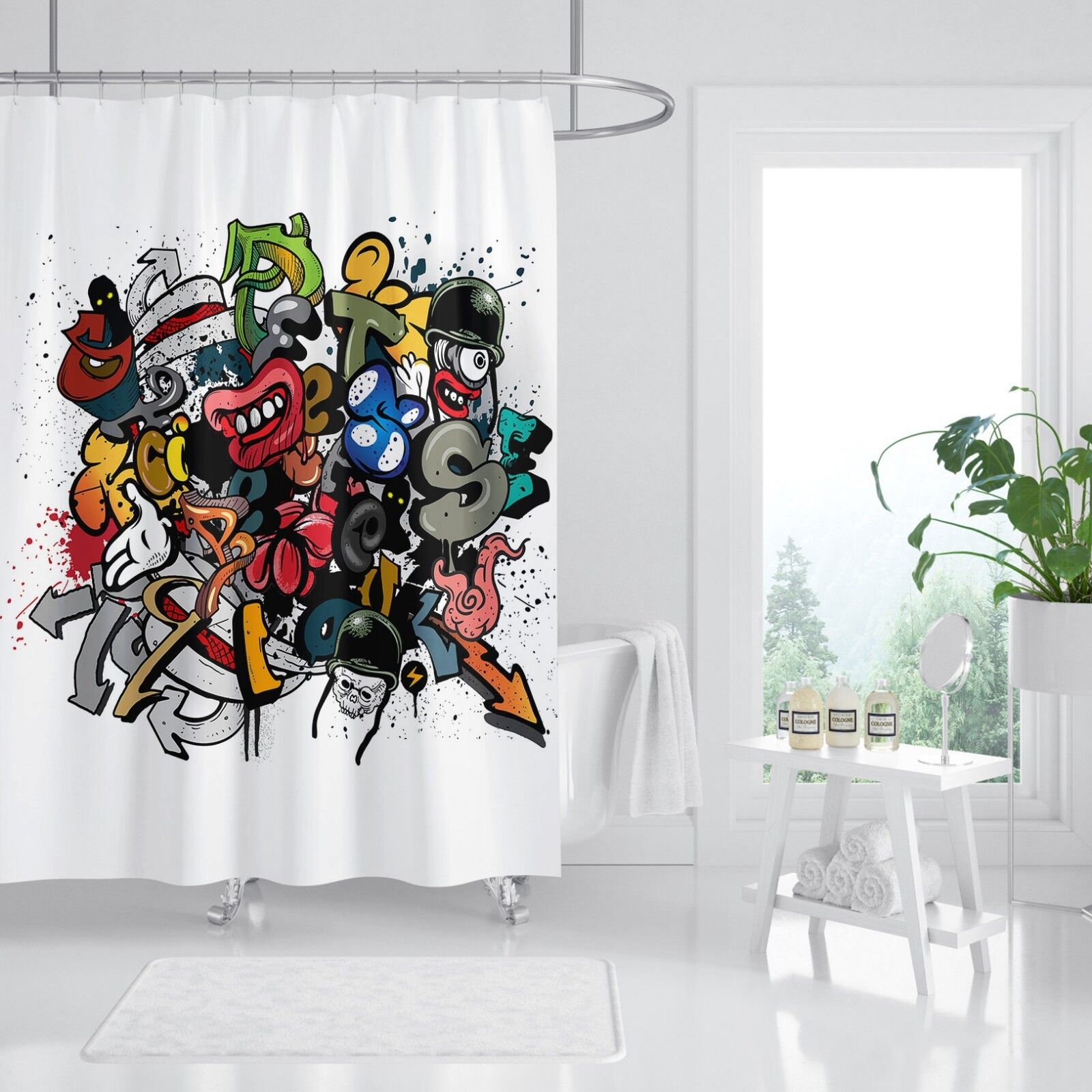 3D Cartoon Comic Comic Comic 8 Shower Curtain Waterproof Fiber Bathroom Home Windows Toilet 8035c6